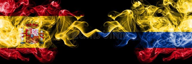 Espanha contra Colômbia, bandeiras místicos fumarentos colombianas colocadas de lado a lado Grosso colorido de seda fuma a bandei ilustração stock