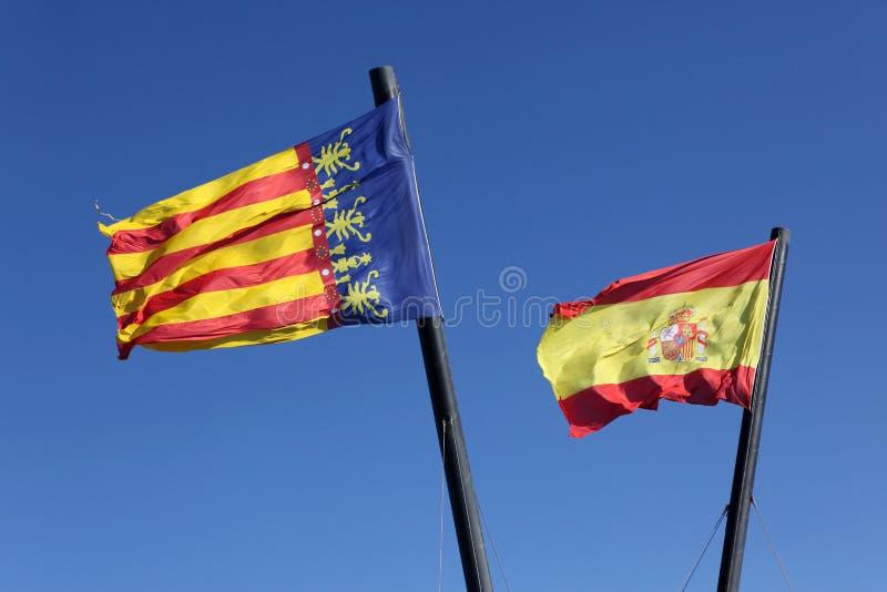 Espanha da bandeira e Comunidad Valenciana, foto de stock