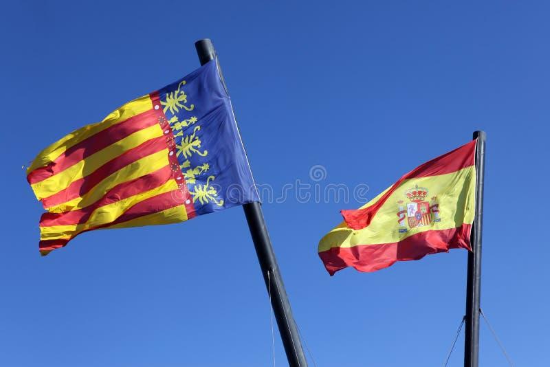 Espanha da bandeira e Comunidad Valenciana, imagem de stock royalty free