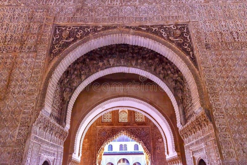 Espanha de Alhambra Courtyard Myrtles Arches Granada a Andaluzia imagens de stock royalty free