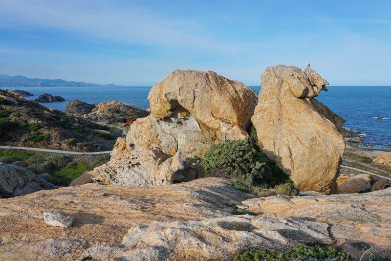 Espanha do parque natural de Tampão de Creus da formação de rocha fotografia de stock royalty free