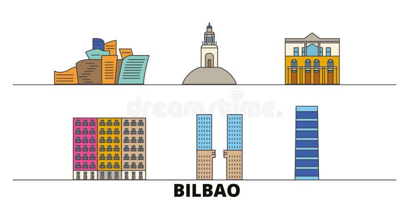 Espanha, ilustração lisa do vetor dos marcos de Bilbao Espanha, linha cidade com vistas famosas do curso, skyline de Bilbao, proj ilustração stock