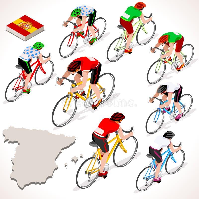Espanha isométrica dos povos de Vuelta Espana do ciclista que compete o grupo do ciclista ilustração stock