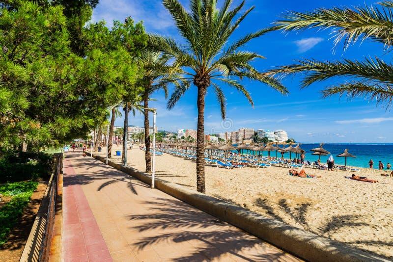 Espanha Majorca, passeio da praia da areia com as palmas em Magaluf fotografia de stock