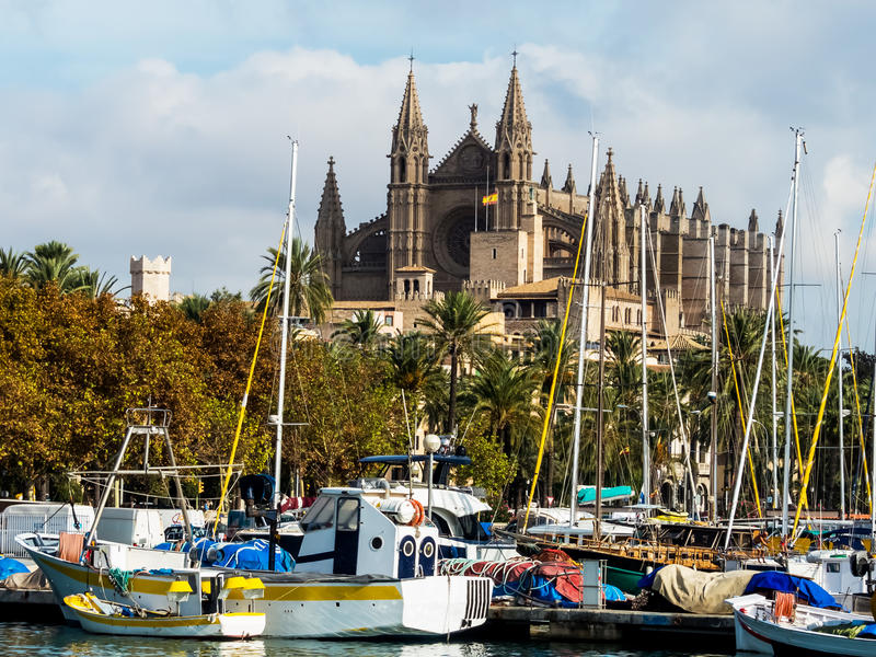 Espanha, mallorca, palma, catedral fotos de stock royalty free