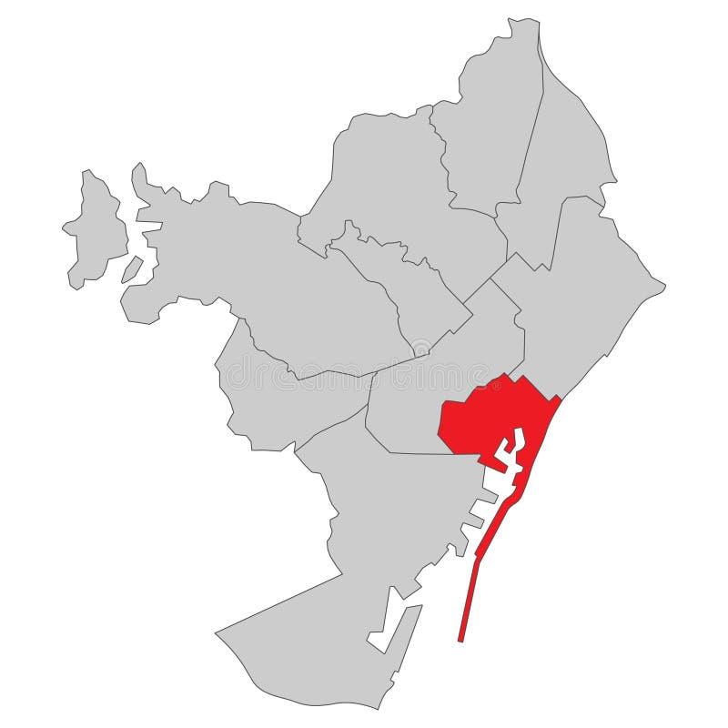 Espanha - mapa de Barcelona - detalhado alto ilustração do vetor