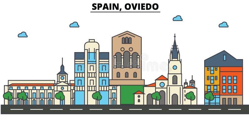 Espanha, Oviedo Arquitetura da skyline da cidade editable ilustração royalty free