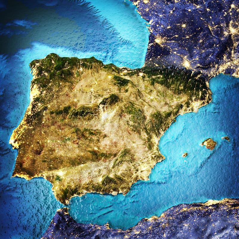 Espanha, Portugal, mar Mediterrâneo ilustração royalty free