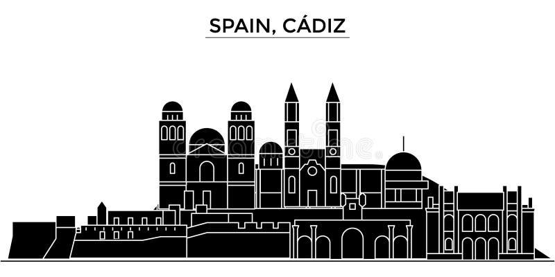 Espanha, skyline da cidade do vetor da arquitetura de Cadiz ilustração do vetor