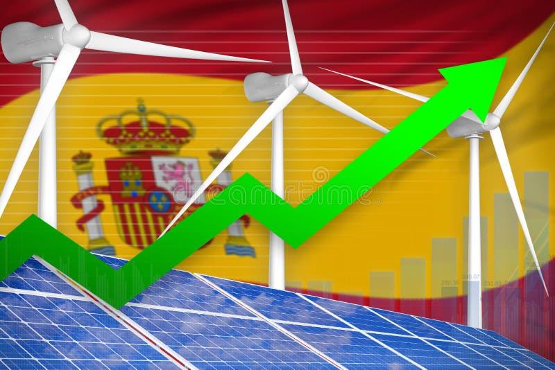 Espanha solar e carta de aumentação das energias eólicas, seta acima - da ilustração industrial verde da energia natural ilustraç ilustração stock