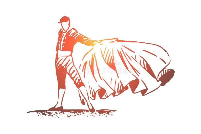 Espanha, tourada, matador, curso, conceito do país Vetor isolado tirado mão ilustração do vetor