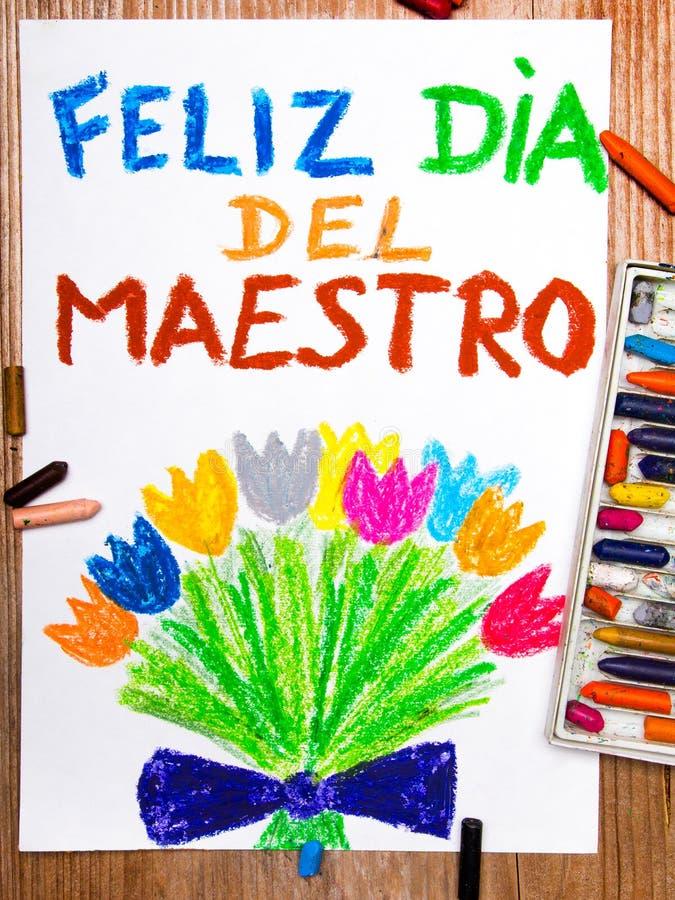 Espanhol Teacher& x27; cartão do dia de s ilustração do vetor