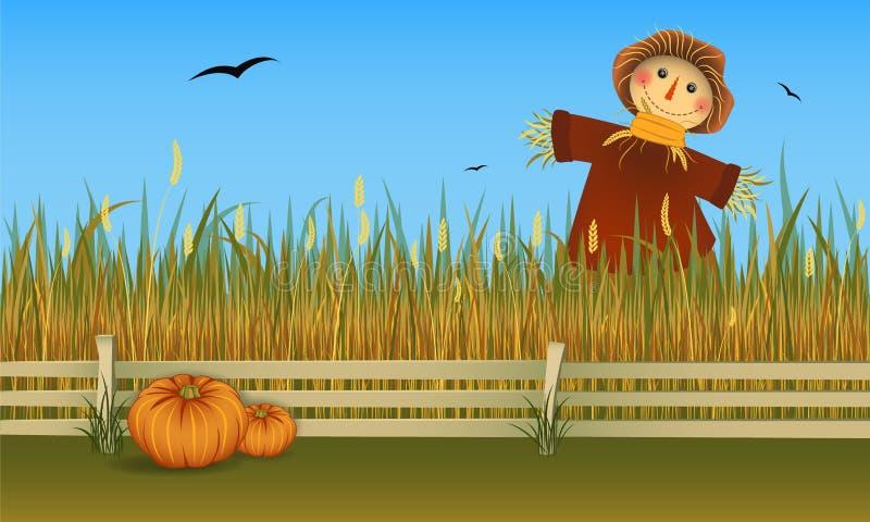 Espantalho da colheita do outono no campo com duas abóboras Bandeira do vetor ilustração stock