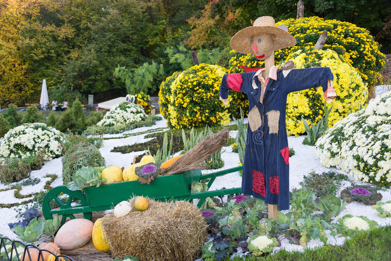 Espantalho de sorriso em um jardim vegetal em um campo fotos de stock