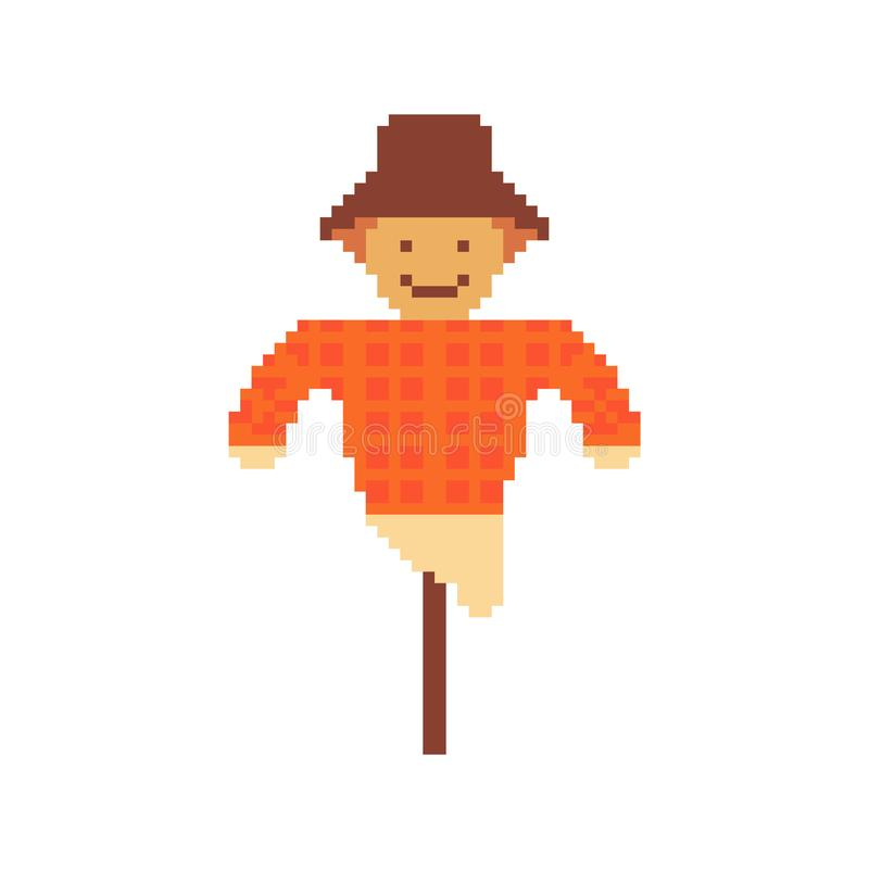 Espantalho isolado no fundo branco Gráficos para jogos 8 bocados Ilustração do vetor na arte do pixel ilustração do vetor