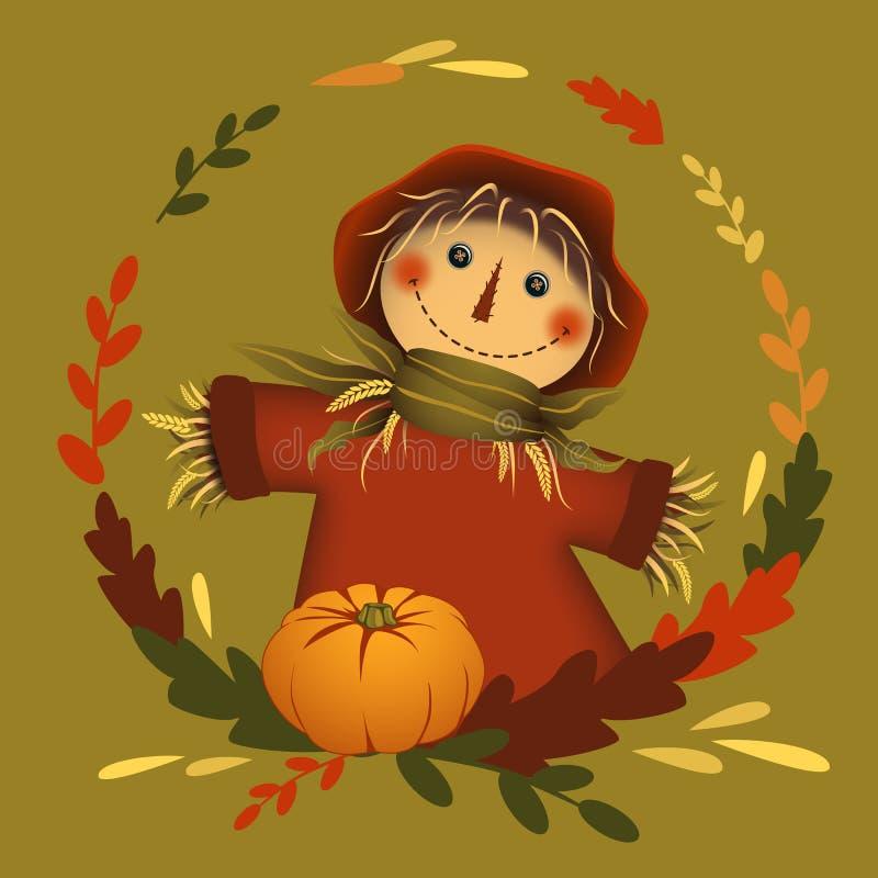 Espantalho no quadro da folha do círculo com abóbora Tema do outono Ilustra??o do vetor ilustração do vetor