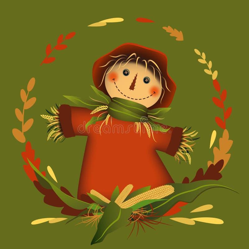 Espantalho no quadro da folha do círculo com milho no meio Autumn Colors Ilustra??o do vetor ilustração do vetor