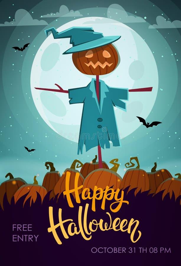 Espantapájaros asustadizo Aviador de Halloween libre illustration