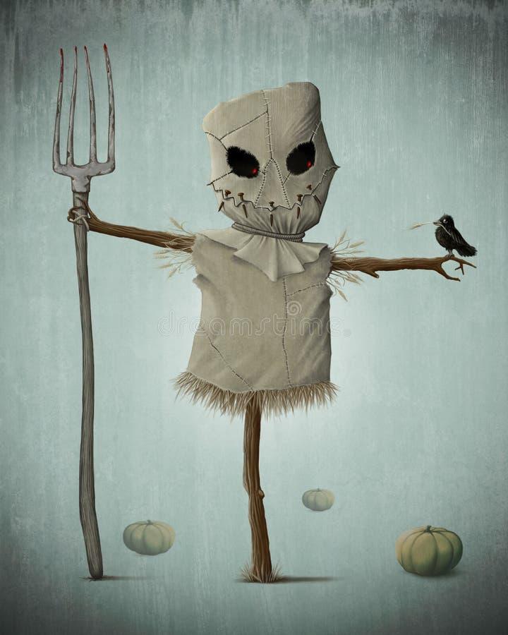 Espantapájaros de Halloween stock de ilustración