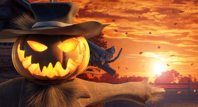 Espantapájaros de Halloween con la cabeza tallada de la calabaza, fondo del otoño stock de ilustración