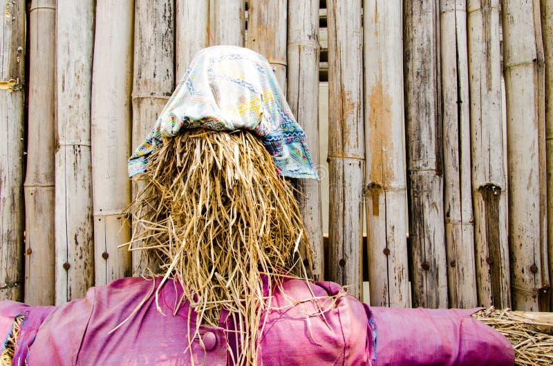 Espantapájaros en el fondo de bambú imágenes de archivo libres de regalías
