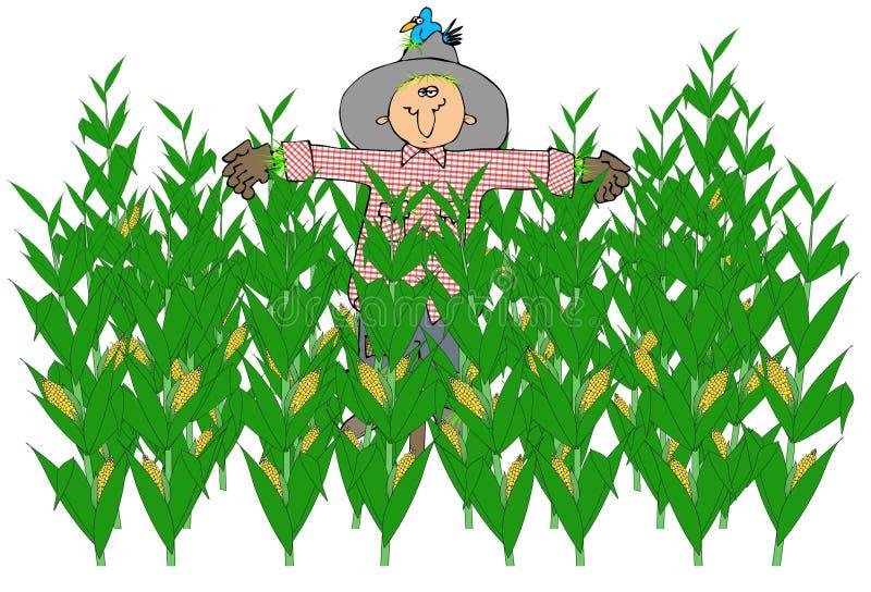 Espantapájaros en un campo de maíz stock de ilustración