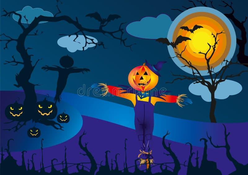 Espantapájaros y las calabazas en la noche asustadiza de Halloween - vector el ejemplo ilustración del vector