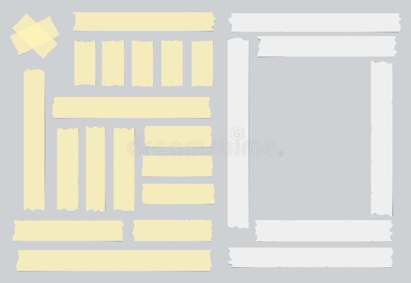 Esparadrapo branco e amarelo, pegajoso, mascarando, fita adesiva para o texto no fundo cinzento ilustração stock