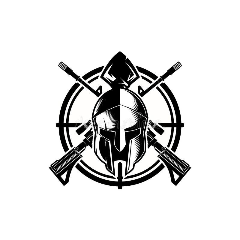 Espartano blanco y negro con la plantilla del vector del croshair y del rifle ilustración del vector