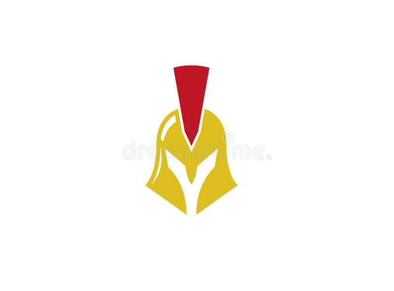 Espartano con el casco de oro para el diseño del logotipo ilustración del vector