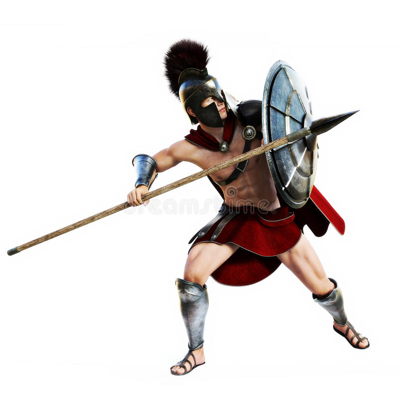 Espartano na ação ilustração royalty free