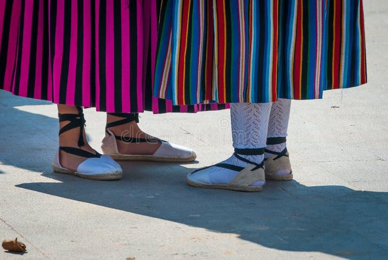 Esparteñas, fazem crochê e as peúgas do reckel, o vestido das mulheres típicas, para as festividades da mola de Múrcia spain imagem de stock royalty free