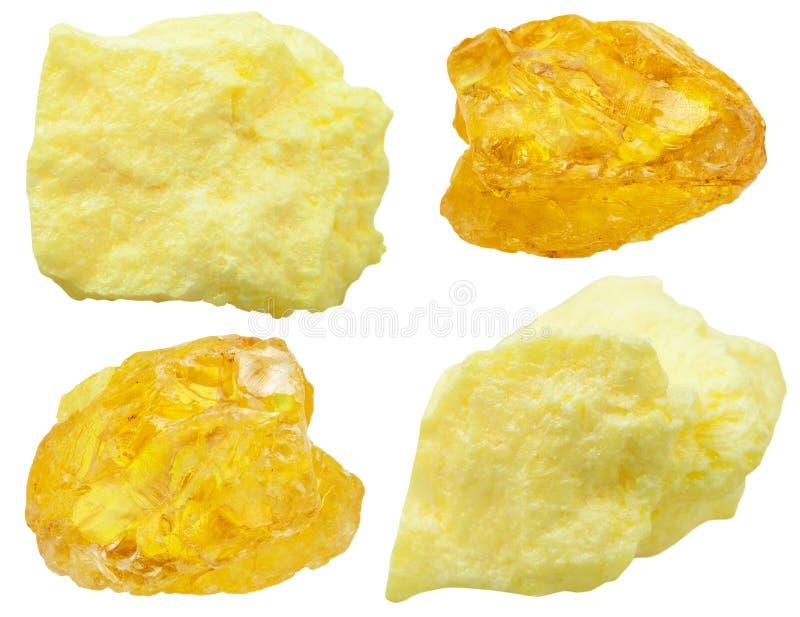 Especímenes de piedras del azufre nativo (azufre) foto de archivo