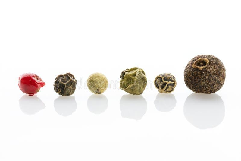 especia Granos de pimienta de la pimienta inglesa, negros, blancos, verdes y rojos con un primer pronunciado de la textura fotos de archivo