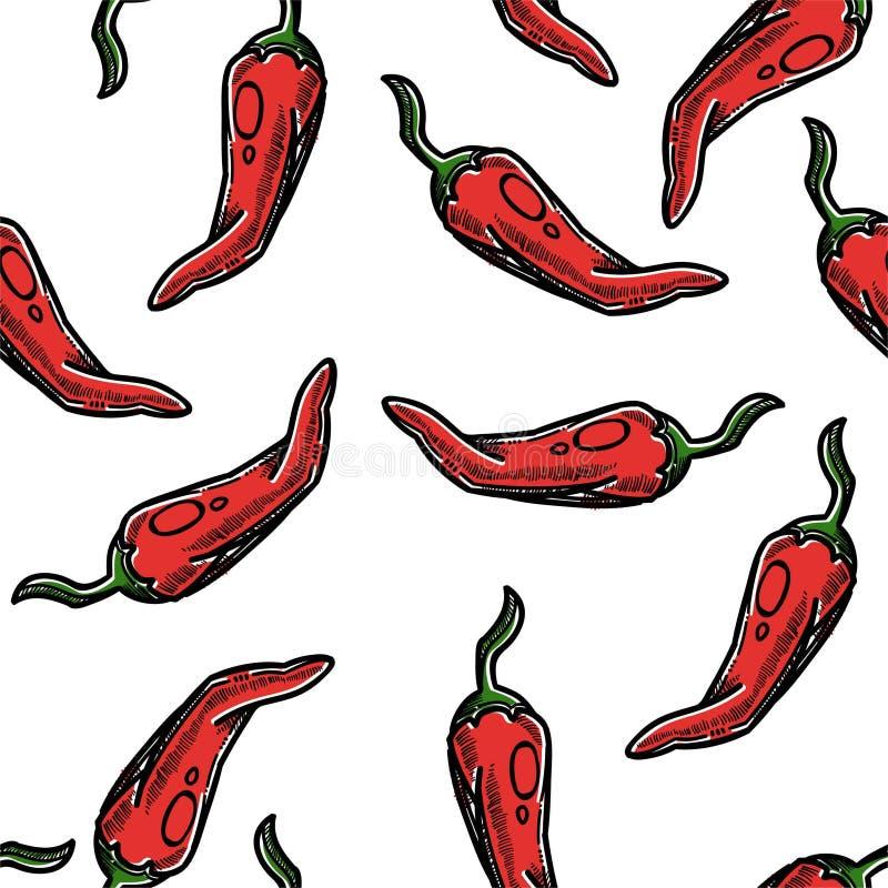 Especia inconsútil del modelo de la pimienta de chile o ingrediente de cocinar vegetal stock de ilustración