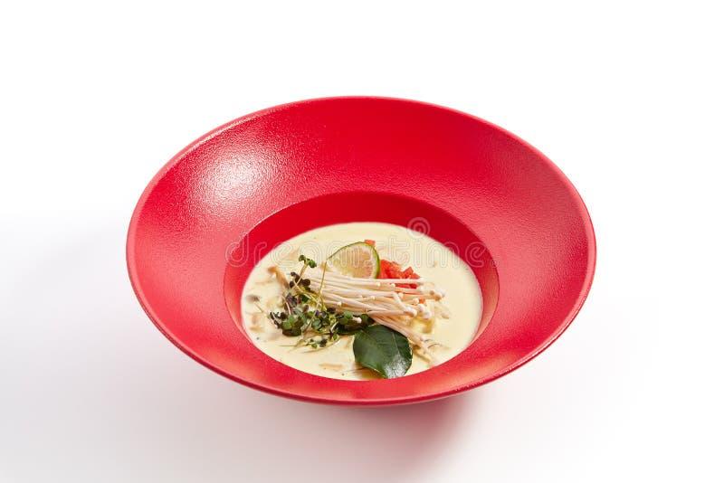 Especialidades da culinária pan-asiático na placa vermelha fotografia de stock