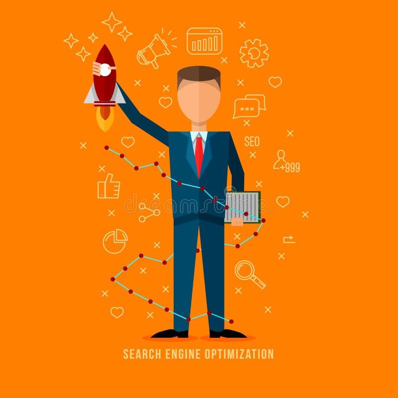Especialista de la optimización del Search Engine Vector experto del ejemplo del seo plano del estilo stock de ilustración