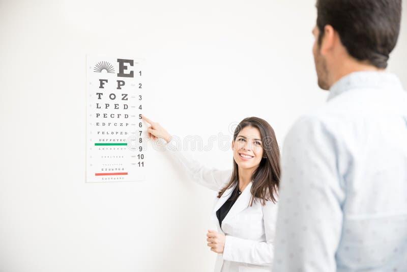 Especialista de ojo que usa la prueba de Snellen para examinar al paciente fotos de archivo
