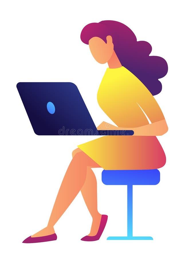 Especialista de sexo femenino de las TIC que trabaja en el ejemplo del vector del ordenador portátil ilustración del vector