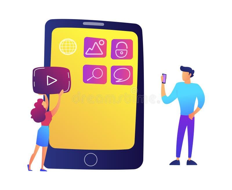 Especialistas de las TIC que crean aplicaciones móviles en el ejemplo del vector de la pantalla del smartphone stock de ilustración