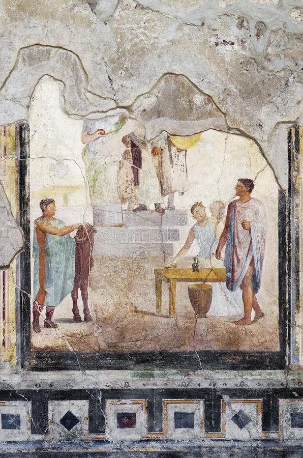 Especially of fresco house, Pompeii. Pompeii was destroyed by the eruption of the volcano Vesuvius in AD 79 royalty free stock photography