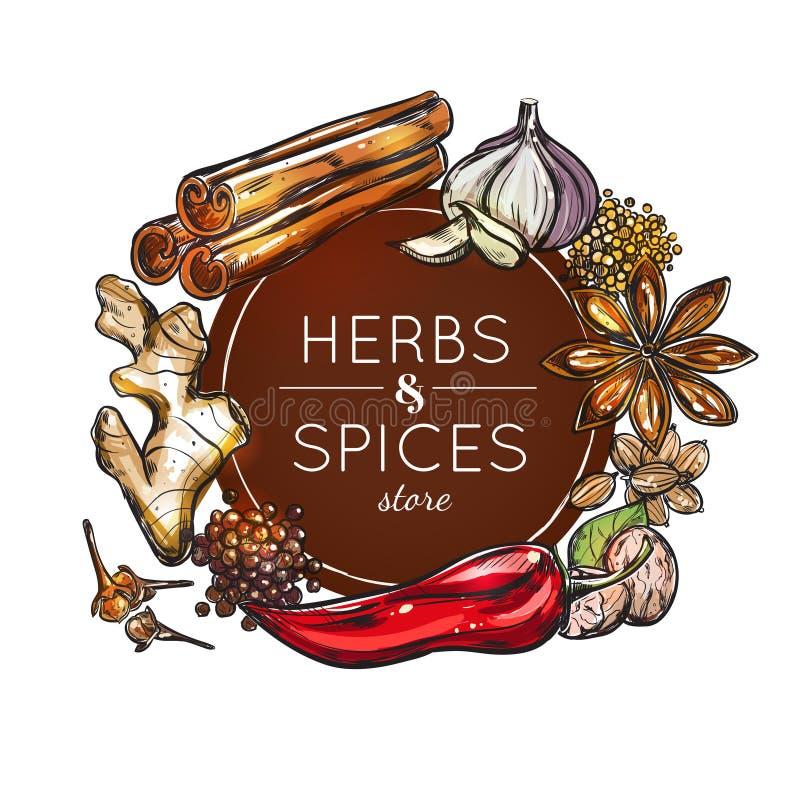Especiaria e Herb Store Emblem ilustração royalty free