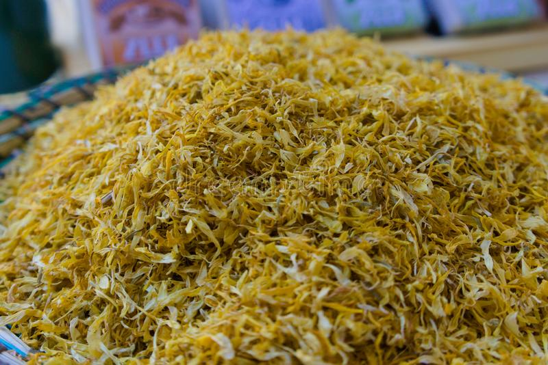 Especiarias amarelas coloridas fotografia de stock