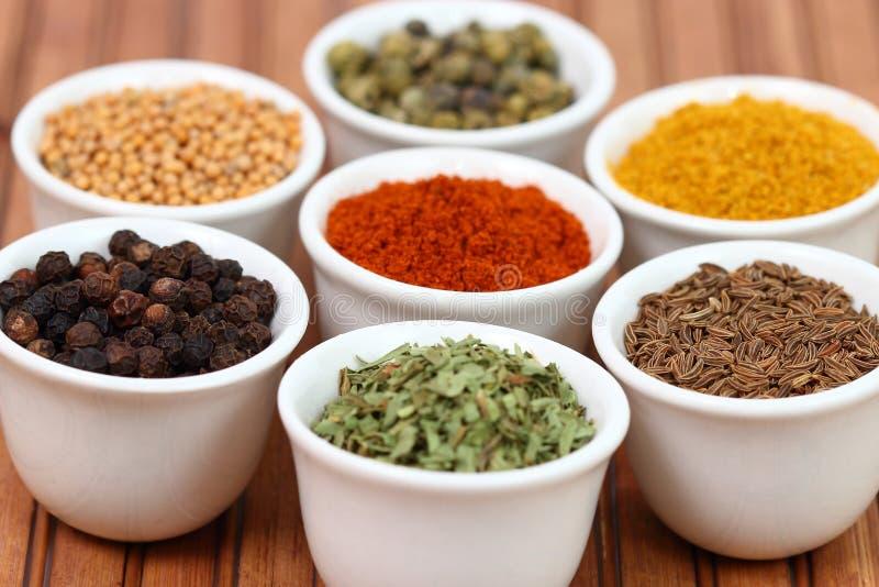 Especiarias coloridas em uns potenciômetros imagem de stock