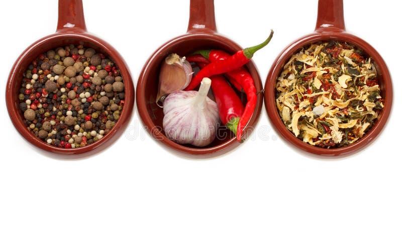Especiarias e alho em umas bacias cerâmicas. fotografia de stock