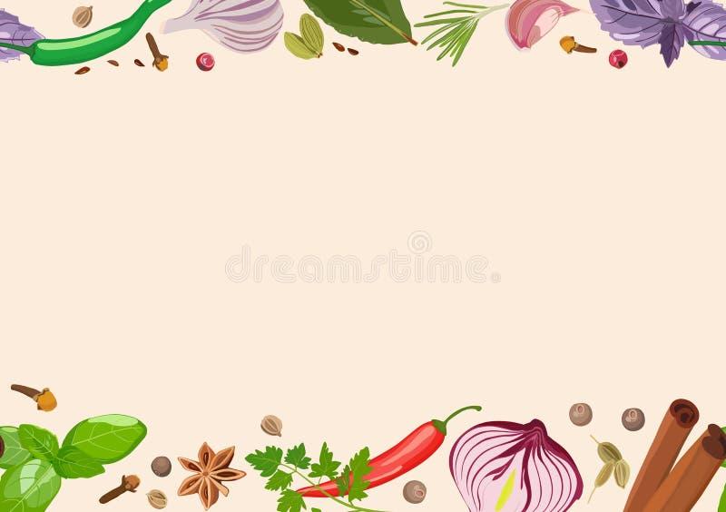 Especiarias e condimentos no fundo claro Cozimento, produtos Ilustração do vetor ilustração stock