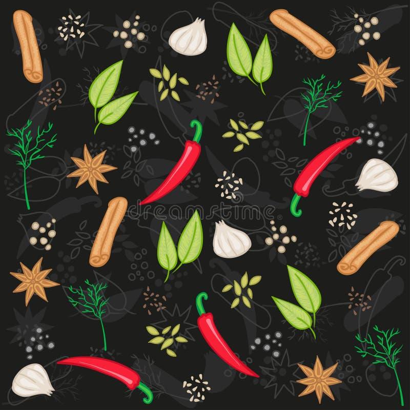 Especiarias e ervas - teste padrão do alimento do vetor Fundo dos temperos ilustração royalty free