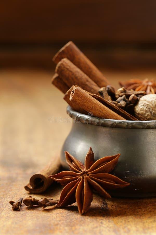 Especiarias para o chá do inverno - canela, anis imagem de stock royalty free