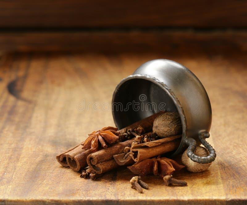Especiarias para o chá do inverno - canela, anis imagem de stock