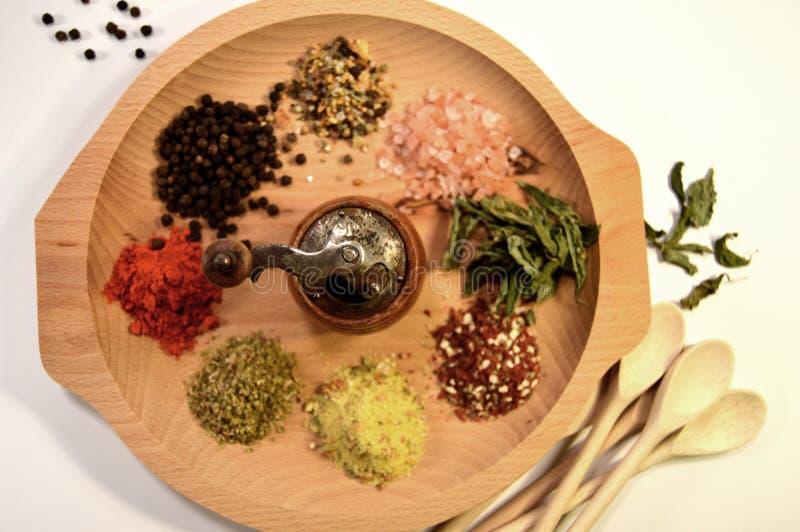 Especiarias - pimenta, sal, piment?es e manjeric?o imagem de stock royalty free